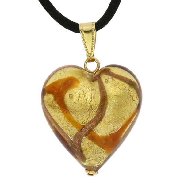 Murano Heart Pendant - Topaz Waves Gold