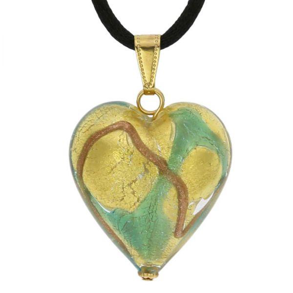 Murano Heart Pendant - Aqua Waves Gold