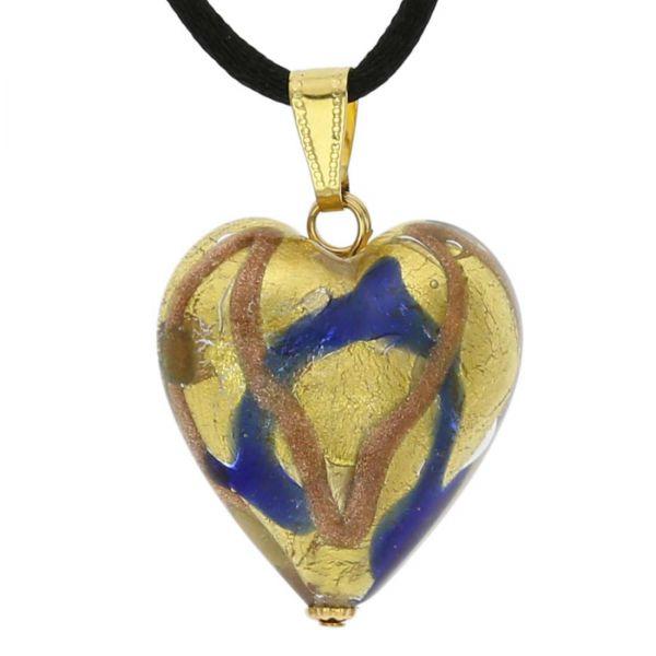 Murano Heart Pendant - Blue Waves Gold