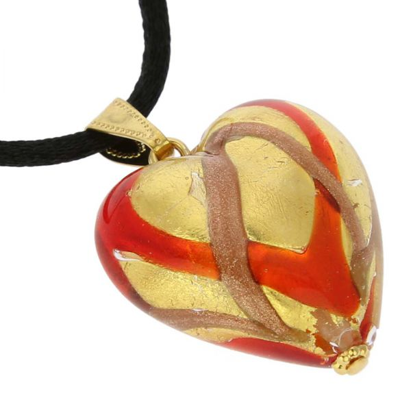 Murano Heart Pendant - Red Waves Gold