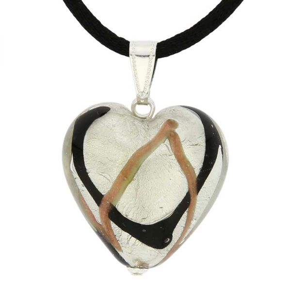 Murano Heart Pendant - Black Waves Silver