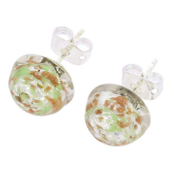 Murano Button Stud Earrings - Silver Green Confetti