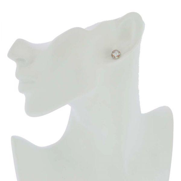 Murano Button Stud Earrings - Silver Ice Confetti