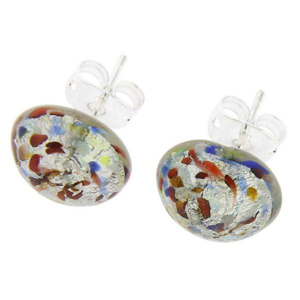 Murano Button Stud Earrings - Silver Multicolor Confetti