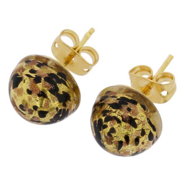 Murano Button Stud Earrings - Black Gold Confetti