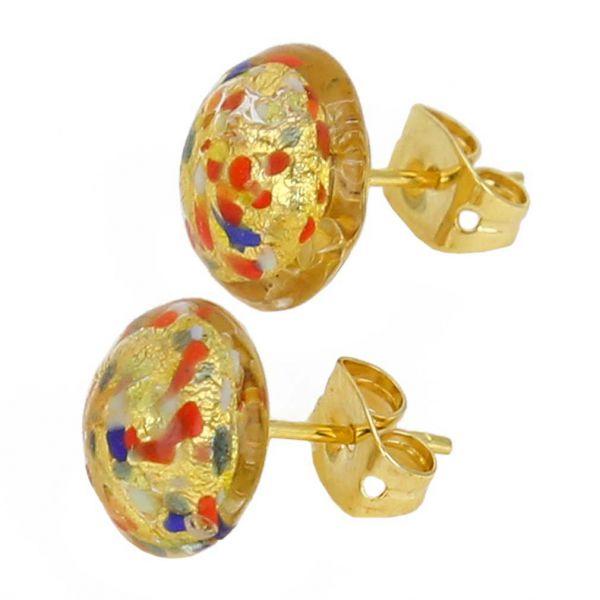 Murano Button Stud Earrings - Multicolor Confetti
