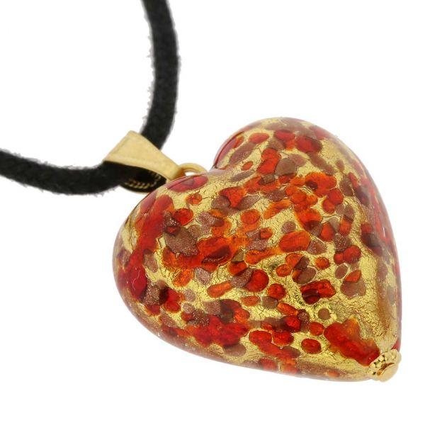 Murano Heart Pendant - Red Confetti