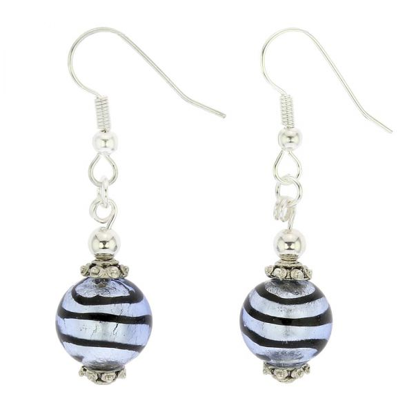 Antico Tesoro Balls Earrings - Striped Silver Blue