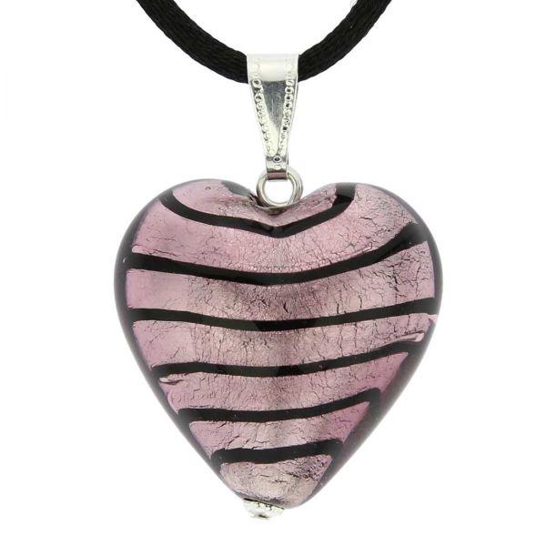 Murano Heart Pendant - Striped Silver Purple