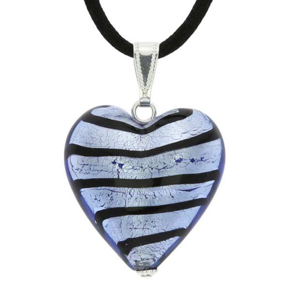 Murano Heart Pendant - Striped Silver Blue