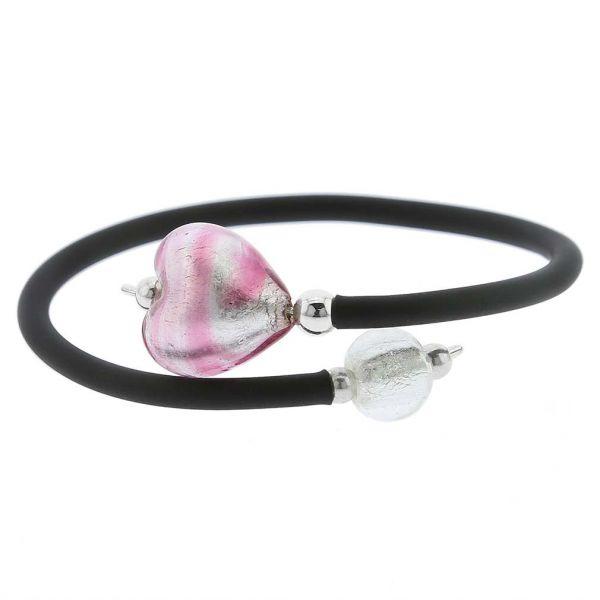 Venetian Glamour Heart Bracelet - Striped Silver Pink