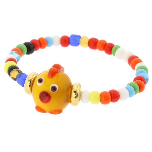 Murano Glass Cutie Chick Children\'s Bracelet