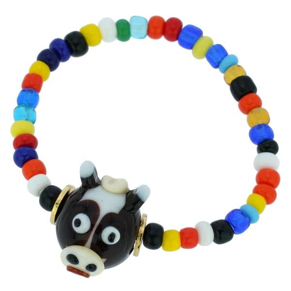 Murano Glass Fancy Cow Children\'s Bracelet