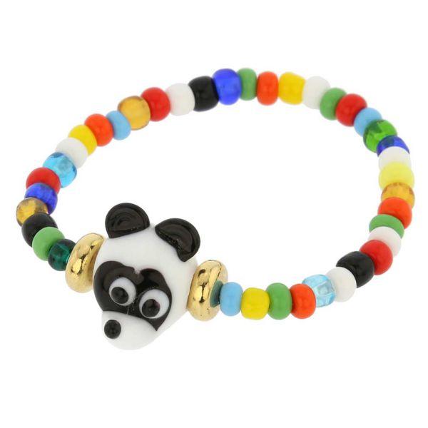 Murano Glass Panda Bear Children\'s Bracelet