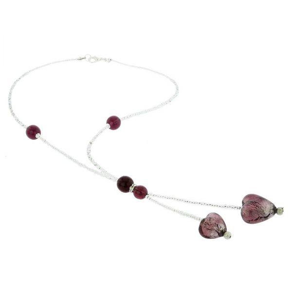 Murano Heart Tie Necklace - Purple