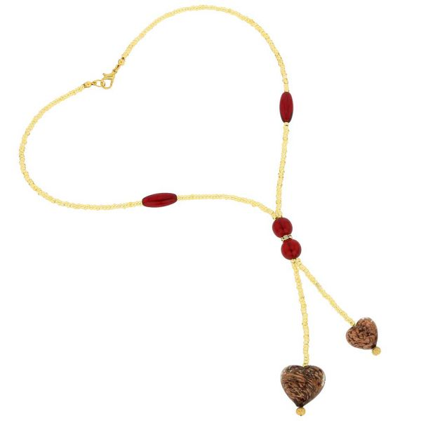 Murano Heart Tie Necklace - Red Sparkles