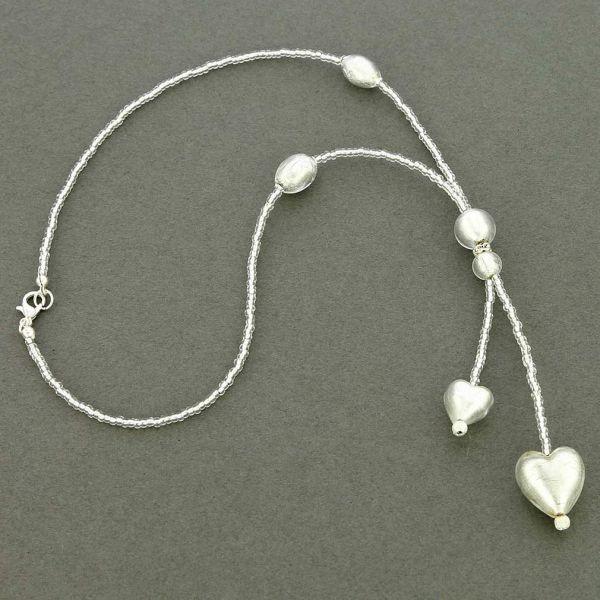 Murano Heart Tie Necklace - Silver White