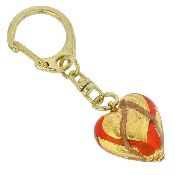 Murano Heart Keychain - Red Waves Gold