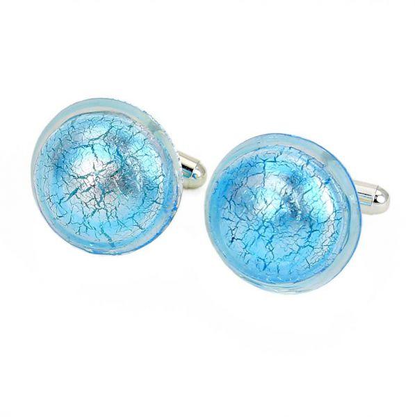Murano Lights Cufflinks - Silver Aqua