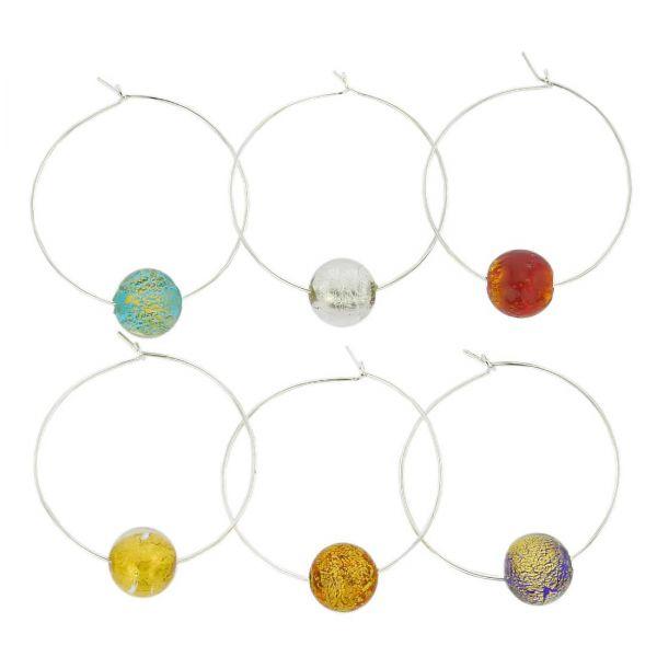 Murano Glass Ca D`Oro Wine Glass Charms Set Of 6