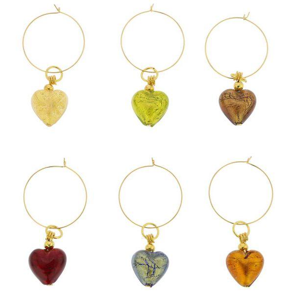 Murano Glass Heart Wine Glass Charms Set Of 6