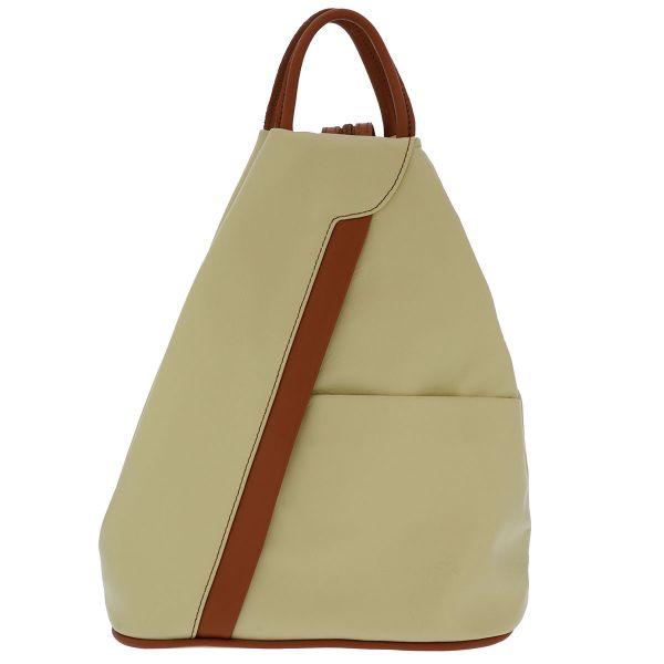 Fioretta Italian Genuine Leather Top Handle Backpack Purse Shoulder Bag Handbag Rucksack For Women - Beige Brown