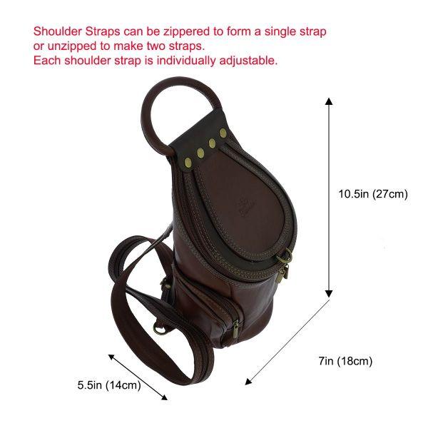 Fioretta Italian Genuine Leather Top Handle Backpack Handbag Shoulder Bag For Women - Brown