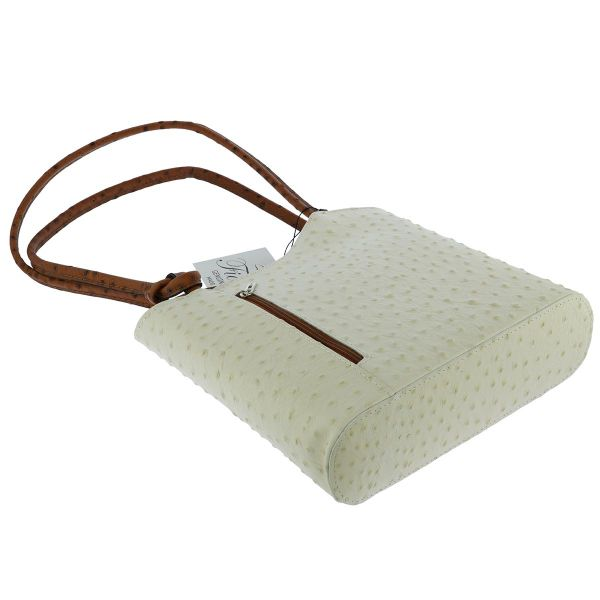 Fioretta Italian Genuine Leather Ostrich Pattern Top Dual Handles Tote Shoulder Bag Backpack Handbag For Women - Beige Brown