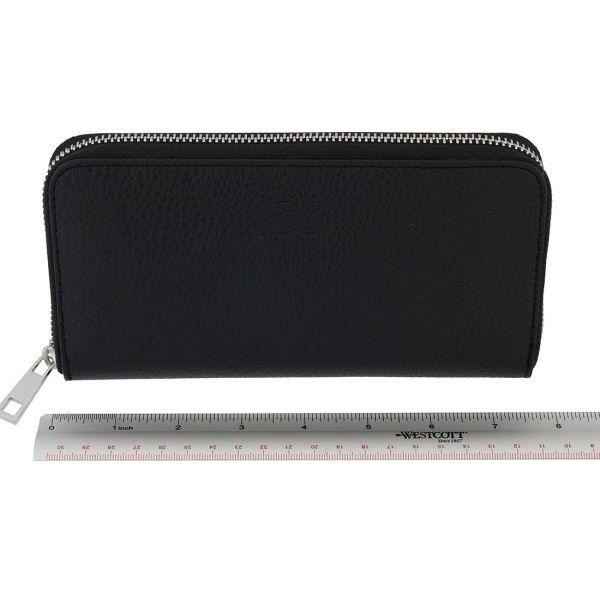 Fioretta Italian Genuine Leather Wallet For Women Credit Card Organizer Zip Around - Black