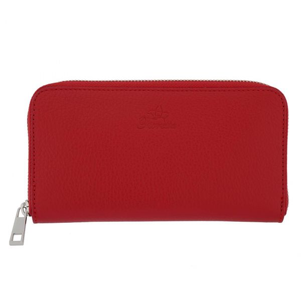 Fioretta Italian Genuine Leather Wallet For Women Credit Card Organizer Zip Around - Red