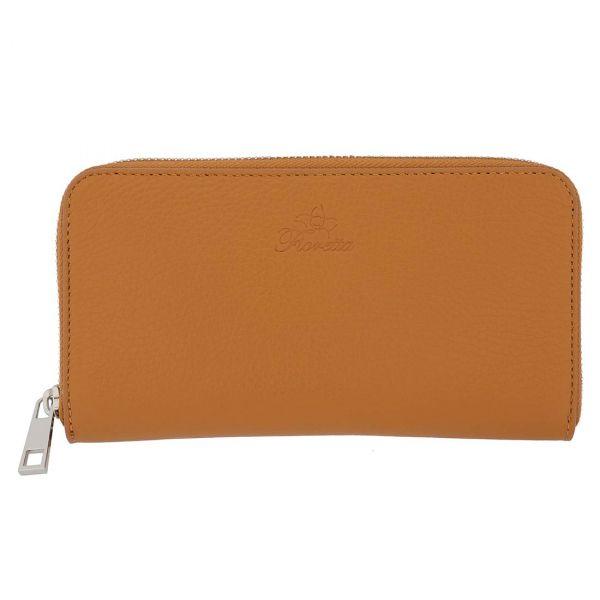 Fioretta Italian Genuine Leather Wallet For Women Credit Card Organizer Zip Around - Tan Brown