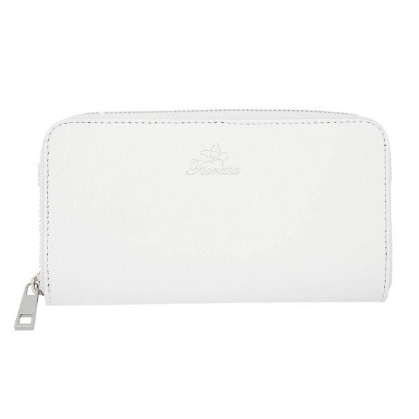 Fioretta Italian Genuine Leather Wallet For Women Credit Card Organizer Zip Around - White