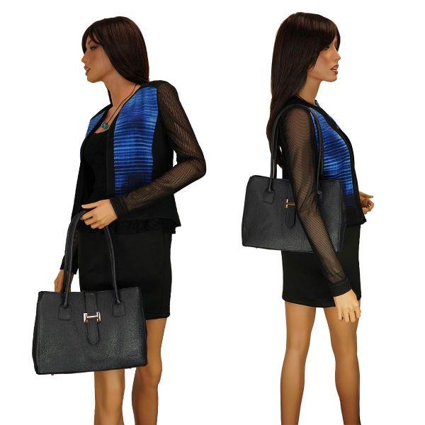 Fioretta Italian Genuine Leather Shoulder Bag Tote Handbag For Women - Navy Blue