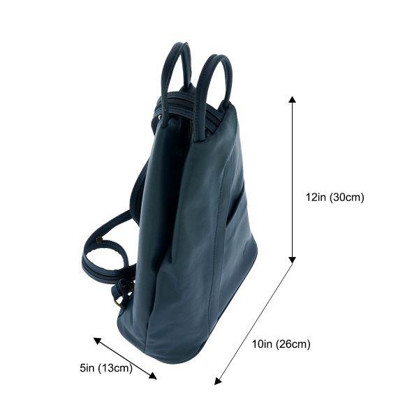 Fioretta Italian Genuine Leather Top Handle Backpack Purse Shoulder Bag Handbag Rucksack For Women - Blue