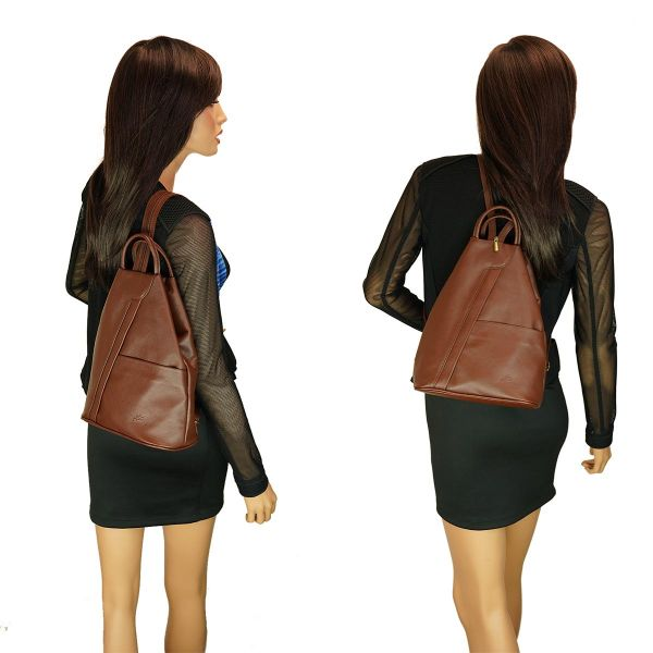 Fioretta Italian Genuine Leather Top Handle Backpack Purse Shoulder Bag Handbag Rucksack For Women - Brown