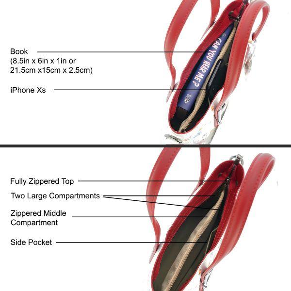 Fioretta Italian Genuine Leather Flower Pattern Top Dual Handles Tote Shoulder Crossbody Handbag For Women - Red