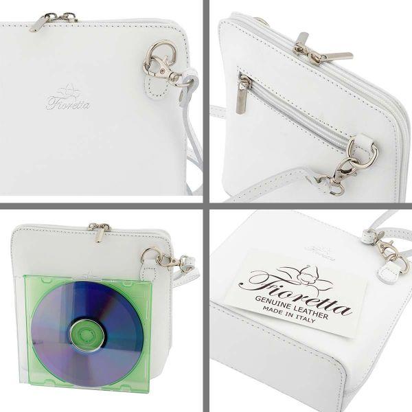 Fioretta Italian Genuine Leather Small Crossbody Bag Shoulder Bag Purse For Women - White