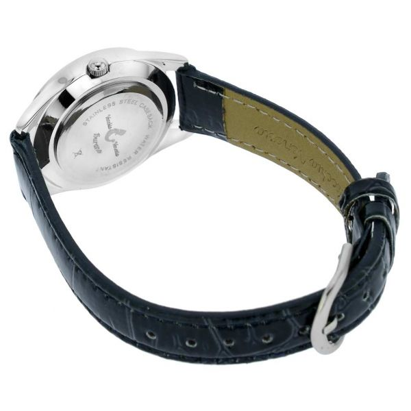 Venetian Crystals Murano Glass Watch With Leather Band - Black