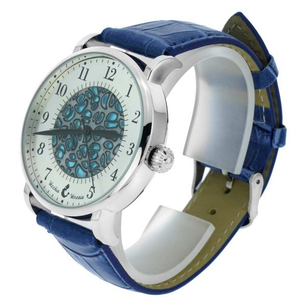 Murano Glass Men\'s Millefiori Watch With Leather Band - Blue