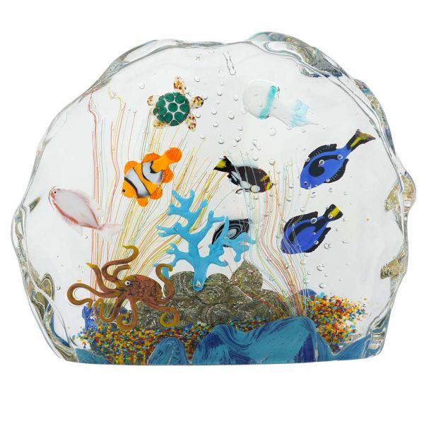 Large Murano Glass Aquarium With Fish And Sea Life - 10 fish