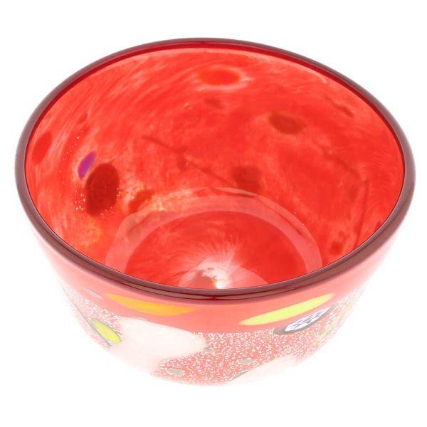 Modern Art Murano Glass Bowl - Red