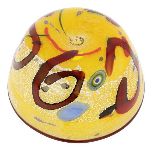 Modern Art Murano Glass Bowl - Yellow