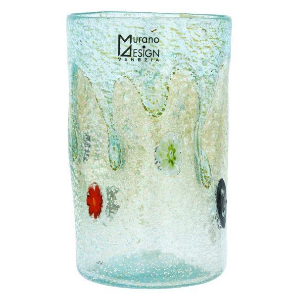 Murano Tall Drinking Glass - Silver Lava Aqua