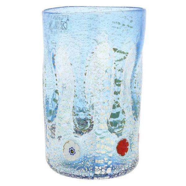 Murano Tall Drinking Glass - Silver Lava Light Blue