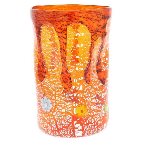 Murano Tall Drinking Glass - Silver Lava Orange