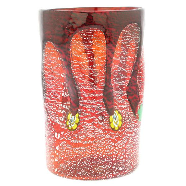 Murano Tall Drinking Glass - Silver Lava Red
