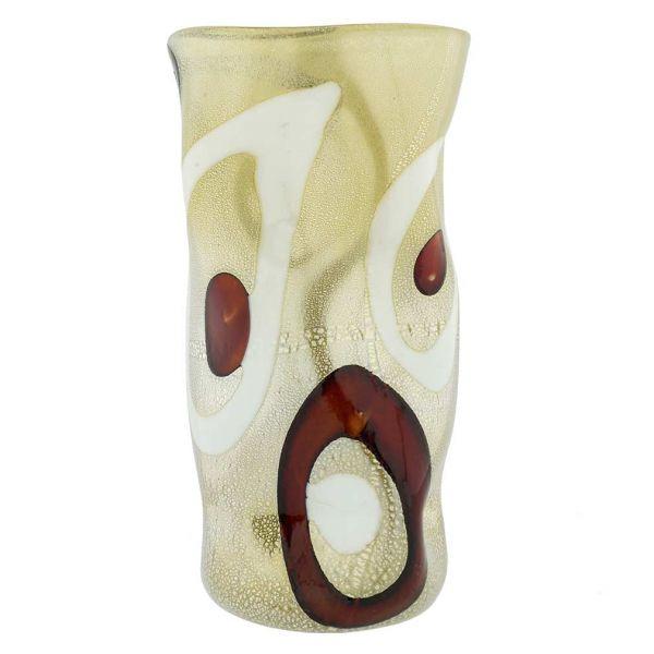 Murano Art Glass Wavy Vase - Cream and Coffee Circles