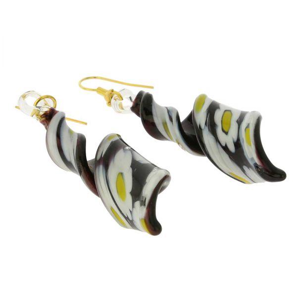 Black Daisy Spiral Earrings