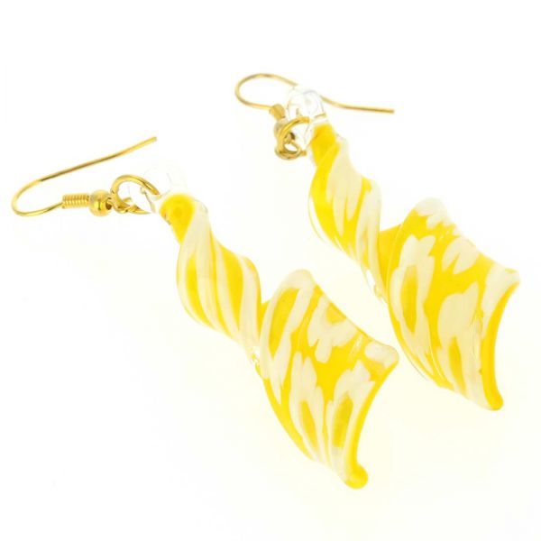 Yellow Daisy Spiral Earrings