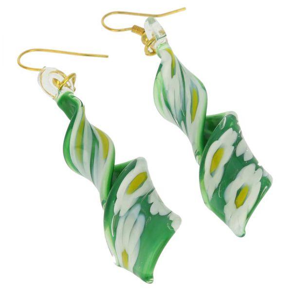 Green Daisy Spiral Earrings